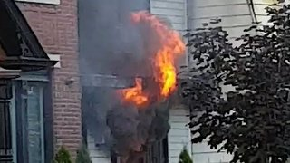 House Catches Fire in Downtown Toronto - Video