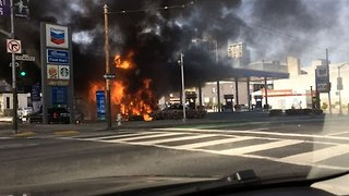 Shuttle Bus Bursts Into Flame at San Francisco Gas Station - Video