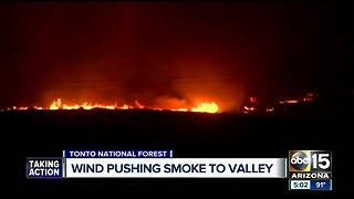 Wind pushing smoke from Brooklyn Fire towards Valley - Video