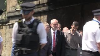 Jeremy Corbyn, Sajid Javid and Theresa May arrive at Finsbury Park Mosque - Video