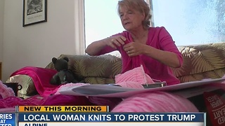 Local woman knits to protest Trump