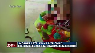 Possible charge after mother let snake bite baby