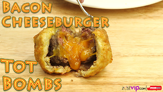 Bacon wrapped cheeseburger tater tot bombs - Video