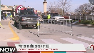 Water main break at KCI could impact travel - Video