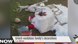 Grinch vandalizes La Mesa family's Christmas decorations - Video
