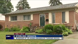 Windows at 25 Sterling Heights homes broken by thrown rocks - Video
