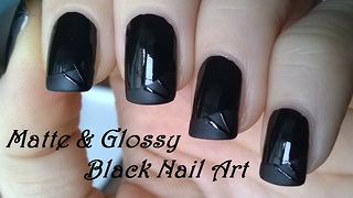 Black glossy & matte nail design - Video
