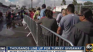 Thousands line up for St. Mary's Food Bank turkey giveaway - Video
