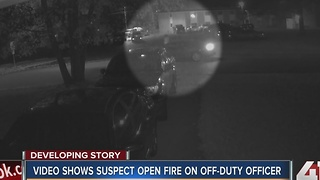 Video shows suspect open fire at off-duty KCMO officer - Video