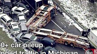Three people dead in massive pileup on Michigan interstate - Video