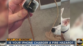 Counterfeit phone chargers causing dangerous fire hazard
