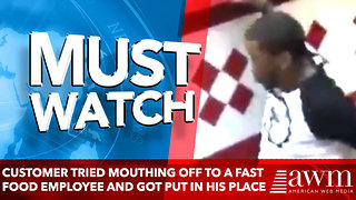 customer tried mouthing off to a fast food employee and got put in his place - Video
