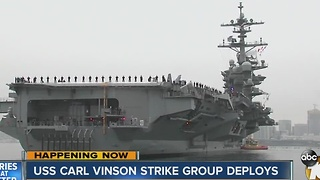 USS Carl Vinson strike group deploys - Video