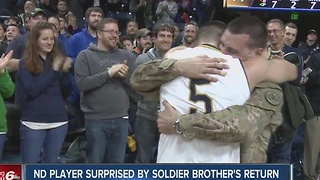 Notre Dame player surprised by soldier brother's return during game - Video