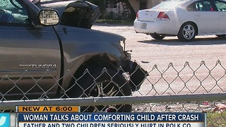 Woman talks about comforting child after crash - Video