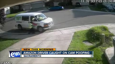 Amazon delivery driver poops in street, caught on camera
