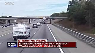 Semi hits overpass in Brighton Township forcing I-96 freeway closure - Video