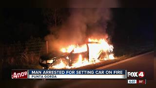 Man arrested for allegedly setting car on fire - Video