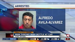 Fort Myers man accused of throwing beer bottle at car, with child inside