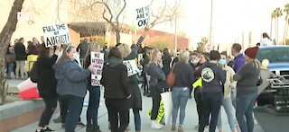 Hundreds gather for protest ahead of Clark County School District board meeting
