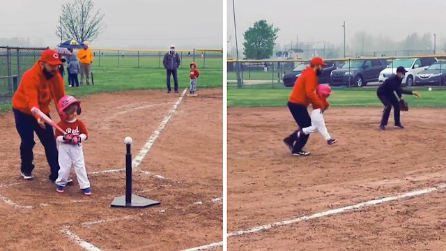 Kid wants to be batter AND catcher at the same time
