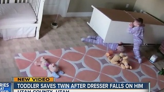 2-year-old boy saves twin brother from fallen dresser - Video