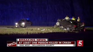 1 Killed In Crash On I-840 In Williamson County - Video