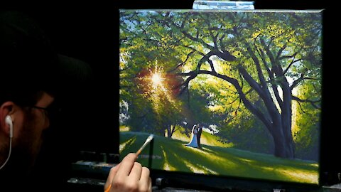 Acrylic Landscape Painting of a Wedding Under A Tree - Time Lapse - Artist Timothy Stanford