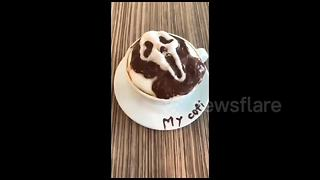 Cafe owner makes impressive customised 3D latte art in Taiwan - Video