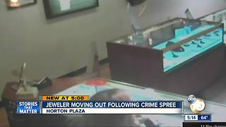 Jeweler moving out after crime spree - Video