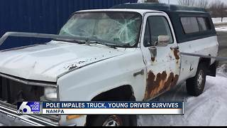 Young Nampa driver lucky to be alive after pole impales windshield, driver's door - Video