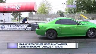 Paralyzed driver uses innovation, determination to race at Milan - Video