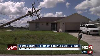 Family living in fear of downed utility pole - Video