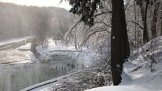 Letchworth Park Waterfalls Freeze Over During Bitter Cold Snap - Video