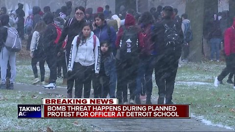 Bomb threat happens during planned protest for officer at Detroit school