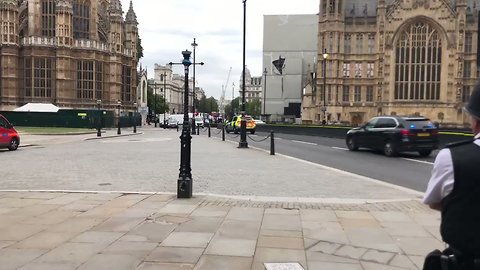 Armed Police Surround Car That Crashed Near Houses of Parliament