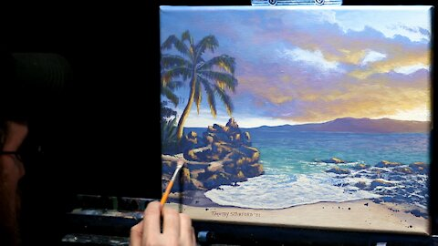 Acrylic Landscape Painting of a Rocky Beach at Sunset - Time Lapse - Artist Timothy Stanford