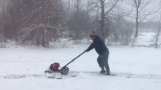 Indiana Snowstorm No Excuse for Falling Behind on Yardwork - Video