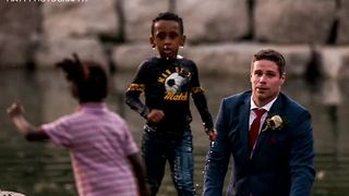 Groom saves boy on wedding day - Video