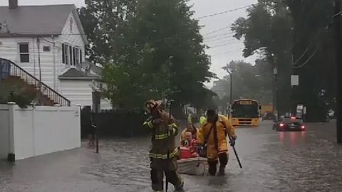 Firefighters Rescue Students From School Bus Stranded in Floodwaters in Stamford, Connecticut
