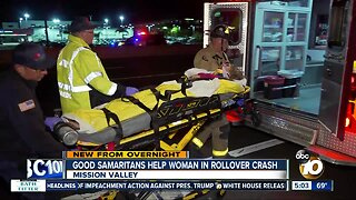 Drivers stop to help woman after rollover crash on I-8 in Mission Valley