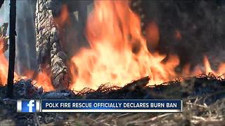 Polk officials institute burn ban to prevent another River Ranch-type wildfire - Video