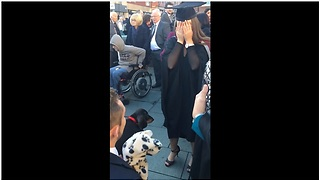 Woman surprised at graduation with puppy and marriage proposal