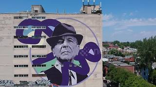 Drone captures amazing footage of Leonard Cohen mural in Montreal - Video