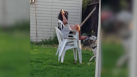 Desperate Dog Knocks Girl Down For Some Ice Cream