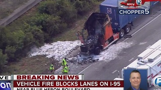 Vehicle fire causes delays on I-95 - Video