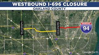 Traffic alert: Westbound I-696 to close in Oakland County this weekend