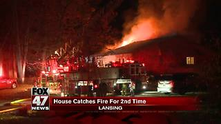 House catches fire for second time in less than 24 hours - Video