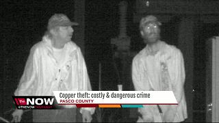 Two men caught on surveillance video stealing copper from power station again - Video