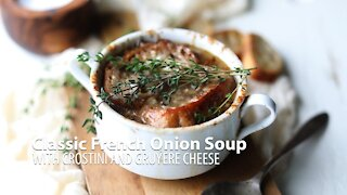 Classic French Onion Soup Recipe with Crostini and Gruyere Cheese